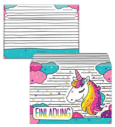 12 Einladungskarten Zum Kindergeburtstag Fr Mdchen Einhorn Unicorn