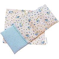 Saco térmico de semillas de trigo y semillas de lavanda, tiene funda lavable con combinación de tela de flores y vichy azul.