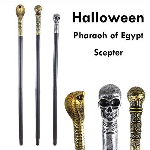 (Tod Kühlt Halloween Verrückte Halloween Ägyptischen Pharaos Cosplay Party Maskerade Scepter Requisiten Snack Kopf Schädel Cane Stick A25)