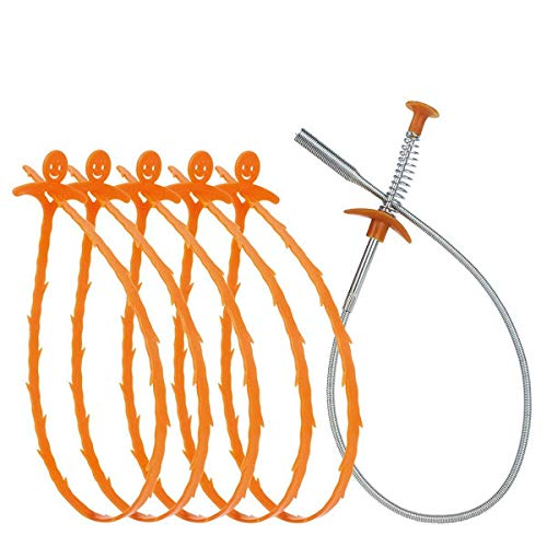 Snake Hair Scarico Clog Remover, Rimuovi Capelli/Serpente Pulisci Scarico Utensile Di Pulizia/Gancio Per Rimuovere Capelli Lavandino (6Pcs )