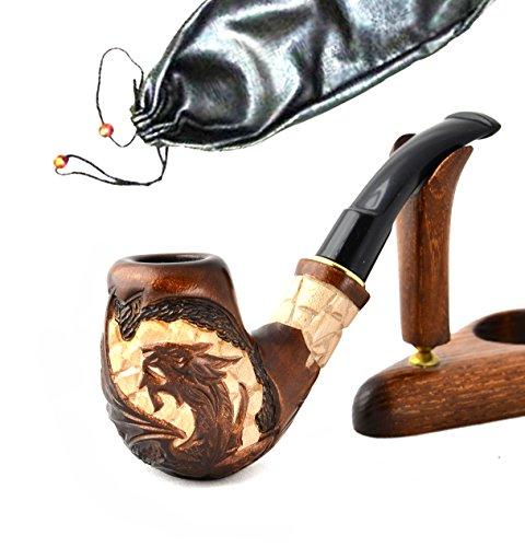 La pipa fatta del pero di alta qualita, lavorazione a mano 'Drago V' + la borsa da tabacco