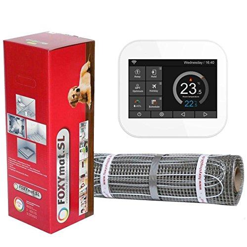 FOXYSHOP24-elektrische Fußbodenheizung PREMIUM MARKE FOXYMAT.SL RAPID (200 Watt pro m²,für die schnelle Erwärmung) mit Thermostat FOXYREG SPSW,Komplett-Set, 5.0 m² (0.5m x 10m)