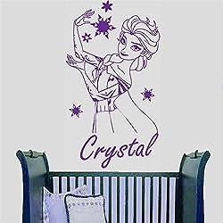 autocollant mural Personnalisé Nom Elsa La Reine Des Neiges personnaliser Sticker porte porte fille nom fille