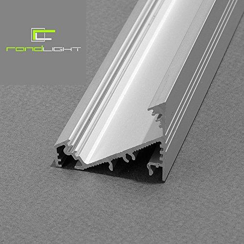 LED Profil CORNER-MAXI-T ALU 2m eloxiert + raureife Blende, SET