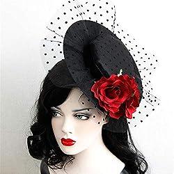 Kanqingqing Sombrero de la Boda del Partido de Las Mujeres Sombrero de cóctel de Boda de Lunares de Malla de Velo Neto fascinador para el Cabello Sombrero Tocado de la Boda de la Flor de Las Mujeres
