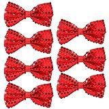Pailletten Fliege Schleife 7 Pack Glitzer Fliege Vorgebunden, 7 x 12cm Einstellbare Fliege Eine Grösse passt allen Bow Tie, Herren Damen Kinder Fliege für Fancy Kostüm Party Zubehör (Red)