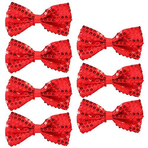 Pailletten Fliege Schleife 7 Pack Glitzer Fliege Vorgebunden, 7 x 12cm Einstellbare Fliege Eine Grösse passt allen Bow Tie, Herren Damen Kinder Fliege für Fancy Kostüm Party Zubehör (Red) (Red X Kostüm Kinder)