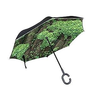 jstel doble capa puede Árbol Hojas mundo mapas paraguas coches Reverse resistente al viento lluvia paraguas para coche al aire libre con asa en forma de C