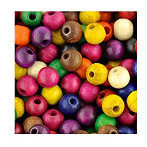 Wooden Beads Lot de 1000 perles rondes en bois 8 mm Couleurs mixtes