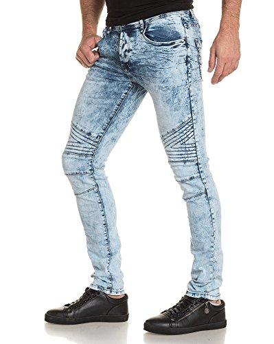 Gov Denim - Jean schlanker Mann gebleichte blaue Wäsche Blau