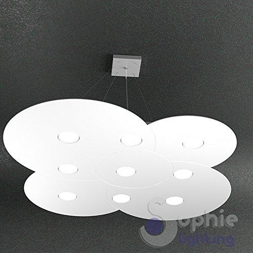 Lustre lampe suspension Grand Maxi réglable Panneau slim nuage rond 89 x 86 cm LED remplaçables 91 W Design ultra moderne élégant minimaliste acier blanc table cuisine salle à manger bureau magasin bureau dur S9 Sophie Lighting