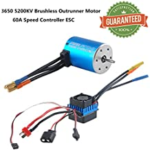 Crazepony-UK 3650 5200KV Sensorless Brushless Motor Outrunner and 60A ESC Electronic Speed Controller Splashproof for 1:10 RC Racing Car Off-Road Truck Vehicle