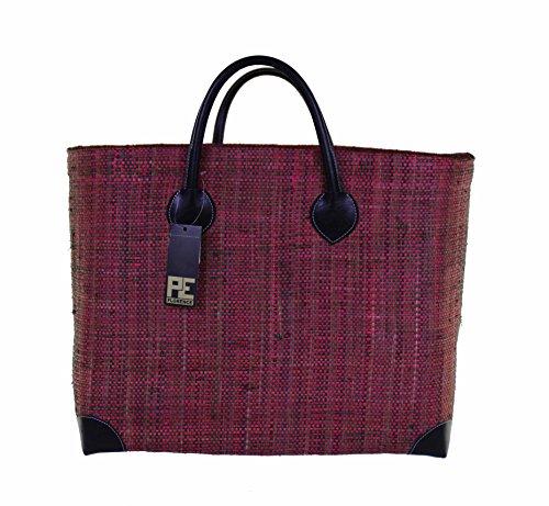 Tasche Umhängetasche Korbtasche HANGARA PARIS in khaki / raspberry Größe: XXL von CH Trading