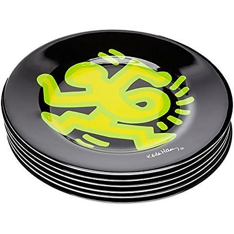 Platex 91010020619 Keith Haring - Set di 6 piatti in melamina, motivo: Corsa, 2 cm