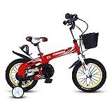 Kinderfahrräder 12 14 Zoll Jungen und Mädchen 2-5-8 Jahre Alt Kinderwagen Kinder Fahrräder Grün Blau Rot (Farbe : Rot, Größe : 14 inch)