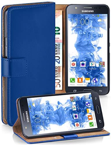 MoEx® Booklet mit Flip Funktion [360 Grad Voll-Schutz] für Samsung Galaxy J5 (2015) | Geldfach und Kartenfach + Stand-Funktion und Magnet-Verschluss, Dunkel-Blau