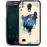 Samsung Galaxy S4 mini Hülle Schutz Hard Case Cover Wolf Illustration Grafik