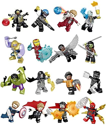 AMeu01 16 Stück Minifiguren Superhelden-Set mit Zubehör, Actionfiguren Bauklötze Kinder Spielzeug, Super Heroes Set with Accessories, Kids Gift 0303