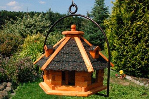 XXL Vogelhaus mit Gauben Nr18 Dach dunkel und Bügel zum aufhängen von Vogelhaus, Nistkasten, Vogelhäuschen, Futterhaus, Vogelvilla und Vogelhäusern, feuerverzinkt und pulverbeschichtet, rostfrei, hängend