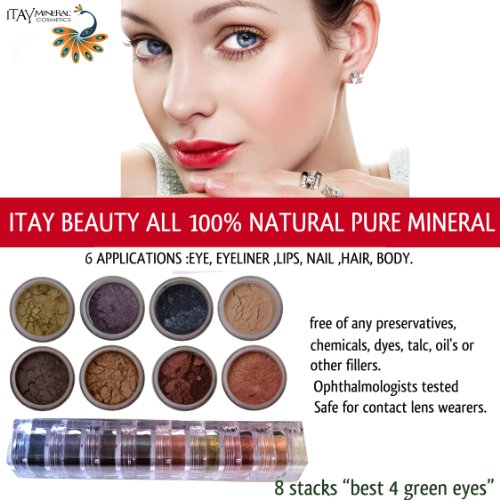 Itay Best 4 Brown 8 Stacks Shimmers Mineral Lidschatten Eye Shadows (Mineral Make-up Stack)