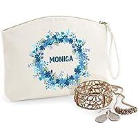 Kit personalizado, algodón orgánico, bolsa de tocador, nombre, regalo de cumpleaños, caja de la joyería, bolso