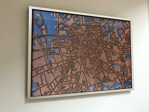 Yourlivingart Gerahmte 3D Karte von Brügge - 50x70 cm (Brügge Karte)
