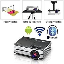 Proyector LED Mini portátil con WiFi Bluetooth HDMI, HD 1080p Pantalla inalámbrica Airplay LCD Android Bluetooth Proyector Cine en casa Altavoces incorporados para teléfono Android Teléfono iPad Xbox
