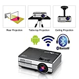 Proyector LED Mini portátil con WiFi Bluetooth HDMI, HD 1080p Pantalla inalámbrica Airplay LCD Android Bluetooth Proyector Cine en casa Altavoces incorporados para teléfono Android Teléfono iPad Xbox