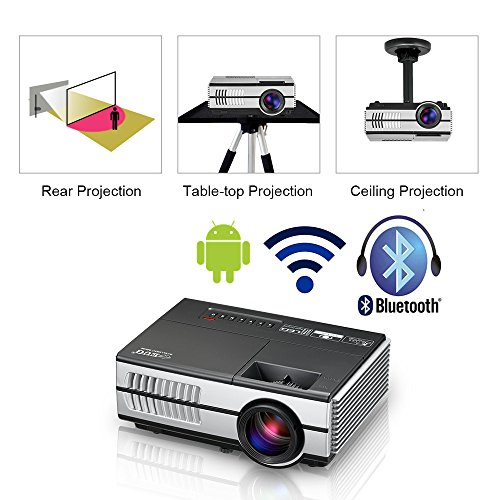 Proyector LED Mini portátil con WiFi Bluetooth HDMI, HD 1080p Pantalla  inalámbrica Airplay LCD Android Bluetooth Proyector Cine en casa Altavoces
