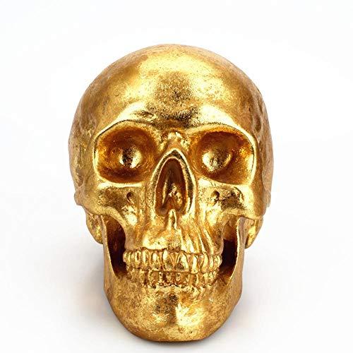 SinceY Halloween Golden Skull Sparschwein Geld Sparen mit großer Kapazität, kreative Harz Sparschwein Glas Spardose für Home-Desktop-Dekoration Halloween Schädel Dekor