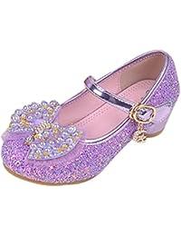 Zhuhaitf Alta calidad Kids Girls Sequins Bowknot Cozy Princess Single Shoes Non-slip High Heels 3 Colors