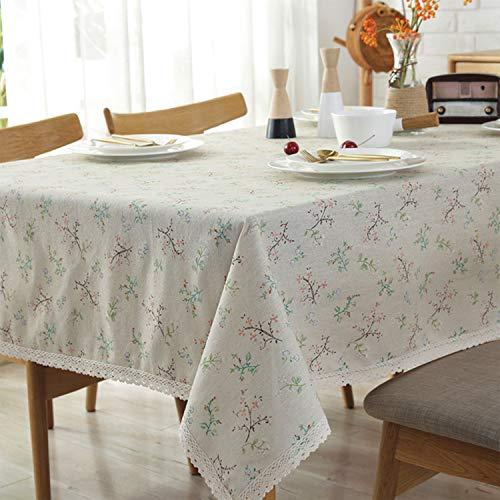 Meiosuns Tischdecke ländlichen pastoralen Stil Tischdecken Baumwolle Leinen Tischdecke Rechteck staubdicht Tischabdeckung für Abendessen Picknick Top Dekoration (140×200cm, Blume)