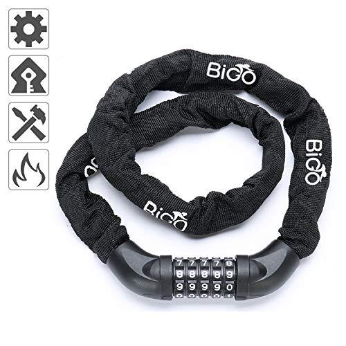 Candado de Bicicleta BIGO Seguridad Candado de Cadena Mejor Combinación Cable de Bloqueo antirrobo alta seguridad 100cm para la bicicleta al Aire Libre-Negro