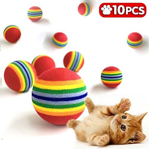 Grifri Katzen-Ball-Spielzeug-Haustier-Kätzchen-Hundewelpen-Regenbogen-bunte 3.5cm 1.38 Zoll Schaum-EVA-weiches Spiel-Verfolgung kauen Trainings-Praxis-Satz von 10 (Praxis-schaum)