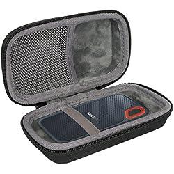 Étui de Voyage Rigide Housse Cas pour SanDisk Extreme Disque Flash SSD Portable 250 Go / 500 Go / 1 to / 2 to par co2CREA (Black Case)