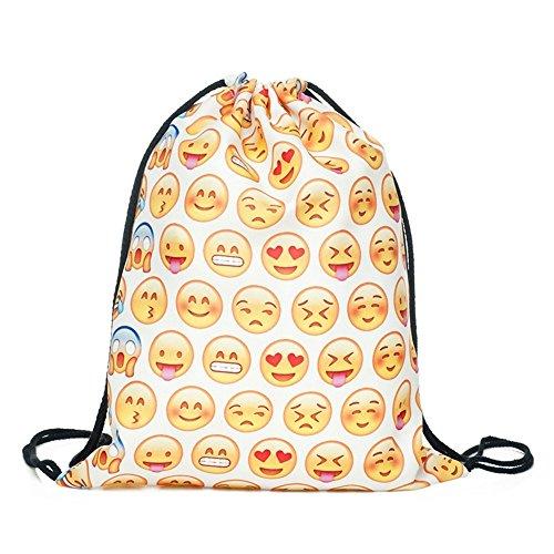Emoji Tunnelzug Taschen Polyester 3D-Druck der Frauen lässige Mode Cartoon 3D Digital gedruckten Kordelzug Rucksack fitness Paket, eine Ein