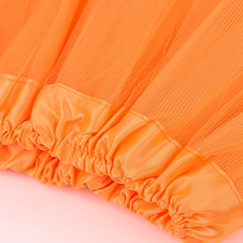 Jiayiqi Femmes Ballet Tutu En Couches Organza Dentelle Mesh Mini Jupe Orange