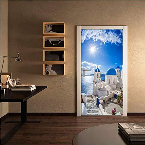 ajldfk Neue Mediterrane Landschaft Tür Aufkleber Schlafzimmer Tür Renovierung Dekorative Tür Aufkleber 77 * 200Cm