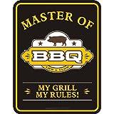 "Cartel de chapa para la barbacoa original sin marco ""Master Of BBQ–My grill, my rules"""