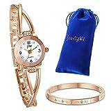 JewelryWe Juego de Pulsera con Reloj Oro Rosa, Moda 2016 Reloj de Diamantes Brillantes Con Pulsera de Números Romanos, Precioso Regalo de Navidad para Chicas Mujeres - JewelryWe - amazon.es
