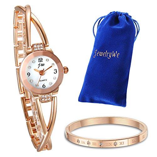 JewelryWe Schmuck Damen Mädchen Armbanduhr Armband Set, elegant Kreuzung Armband Design Armbanduhr, Charm Armreif Armband, Rosegold, Weihnchtsgeschenk -