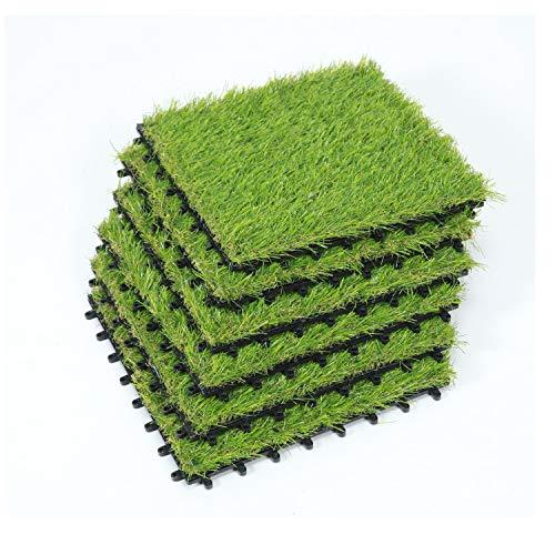 SUMC Rasenfliesen 6 Stück Kunstrasen Bodenfliesen für draußen Innen Gras Klickfliesen mit Kunstrasen Florhöhe von 30 mm, 12×12 Inch (6 Packs) -