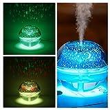 ONXE Luftbefeuchter mit Raumsternen-Nachtlicht, 500 ml, mit Projektions-Lampe für Familie, Kinderzimmer, Büro, persönlicher Desktop, 1 Jahr Garantie Silber