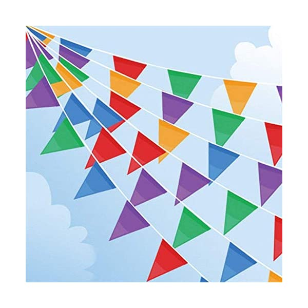 100M Bunting Banner, Multicolor Flag Banners with 200 pcs Triangle Flags, Nylon Fabric Bunting Banners for Birthday, Wedding, Outdoor, Indoor Activity, Party Decoration 51gHkkV4xTL