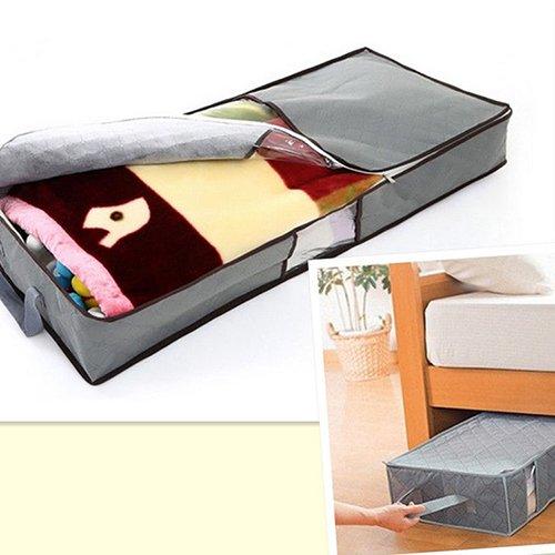ypypiaol Pillow Storage Throw Blanket Organizer Tasche mit Reißverschluss Kleidung Bettdecke Kleidung unter dem Bettgriff Grau -