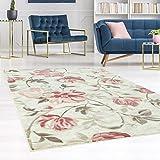 carpet city Teppich Flachflor Inspiration mit Blumen, Floralen Muster in Pastell-Rosa, Beige, Creme für Wohnzimmer, Größe: 80x150 cm