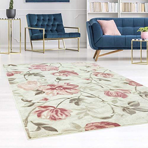 carpet city Teppich Flachflor Inspiration mit Blumen, Floralen Muster in Pastell-Rosa, Beige, Creme für Wohnzimmer, Größe: 200x290 cm -