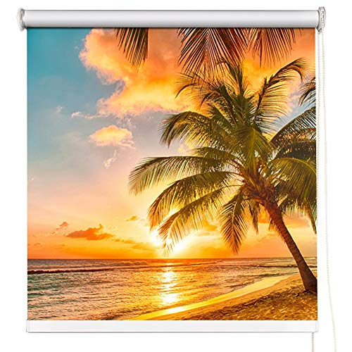 HH- Bambusrollo Blackout Rollos 50-140cm Breite, Meer Sonnenuntergang Muster Fenster-Vorhänge Kein Bohren for Schlafzimmer, Wohnzimmer, Küche, Kinderzimmer (Size : 100x160cm)