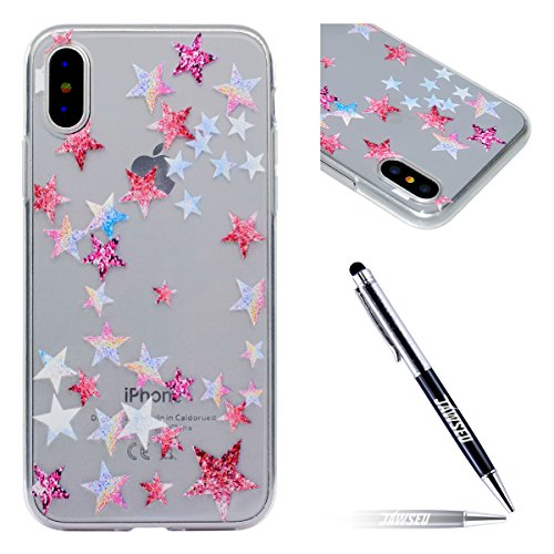Custodia Cover iPhone X Transparente iPhone X Case, JAWSEU Creativo Disegno Antiurto Corpeture Cristallo Chiaro Case per iPhone X Super Sottile Case Custodia Cover per iPhone X Protettiva Shock-Absorp Estrella
