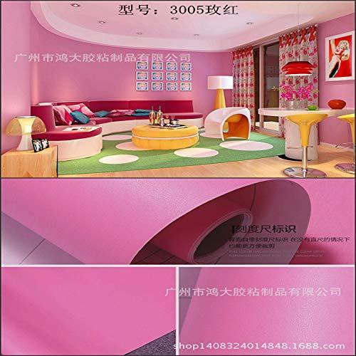 Carta da parati a tinta unita spessa opaca autoadesivo carta da parati decorazione adesivi murali sfondo 0,61 m * 10 m 3005 rosa rossa